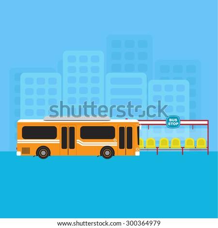 bus public transportation and bus stop vector - stock vector
