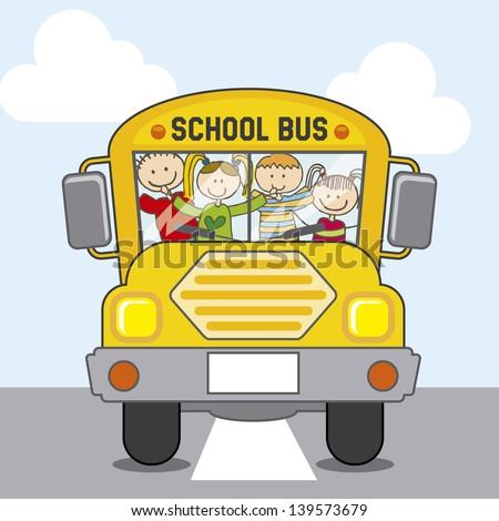 bus school over sky background vector illustration - stock vector