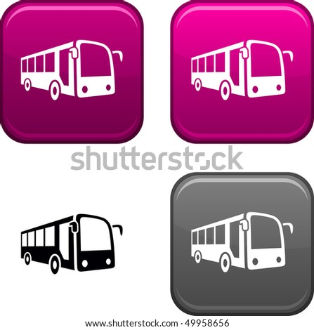 Bus Square Buttons Black Icon Included
