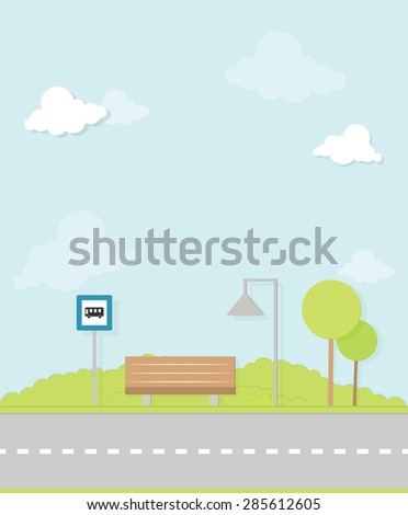 bus stop image - stock vector