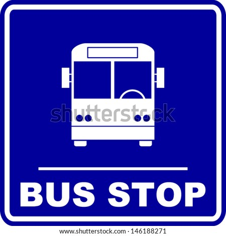 Blue Bus Stop Sign Vector Pictures to Pin on Pinterest ...