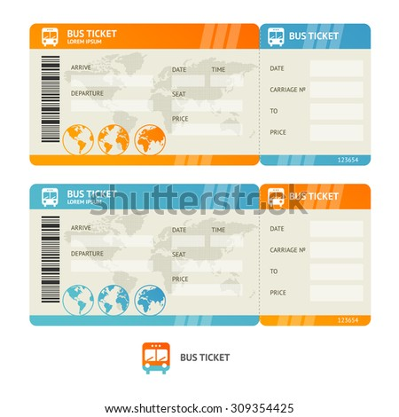 Bus ticket isolated on white background.  Design Template. Vector illustration - stock vector