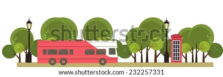 bus tour panoramic picture bus rides near the park - stock vector