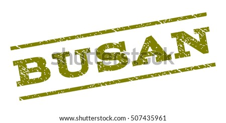 Busan watermark stamp. Text tag between parallel lines with grunge design style. Rubber seal stamp with unclean texture. Vector olive color ink imprint on a white background.