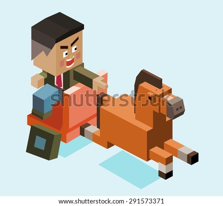 busenessman chases opportunity. vector illustration - stock vector