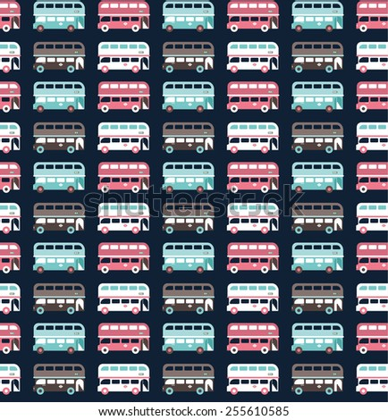 buses pattern - stock vector