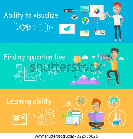 Business ability of visualize learning. Finding opportunities, professional learn and development, skill and motivation, vision strategy, person creative man illustration in flat design - stock vector