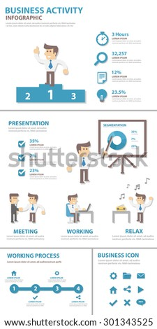 Business Activity element and icon flat design set for presentation brochure flyer advertising and marketing  - stock vector