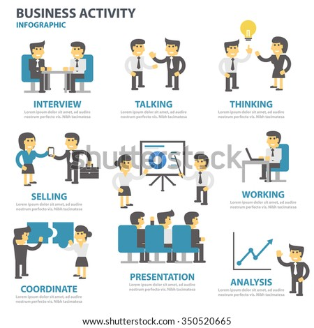 Business activity Infographic elements flat design set for brochure flyer leaflet marketing advertising - stock vector