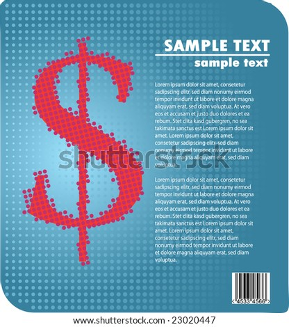 Business ad design - red dollar sign against blue gradient halftone background - stock vector