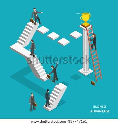 Business advantage isometric flat vector concept. Businessmen are trying to get the winner cup, and only the one of them has red ladder to get it fastest. Innovative thinking, leadership. - stock vector