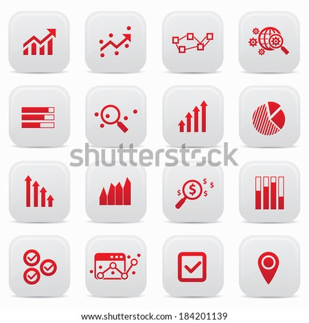 Business analysis buttons,Red version,vector - stock vector