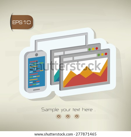 Business analysis,data analysis design sticker concept on old background,clean vector - stock vector