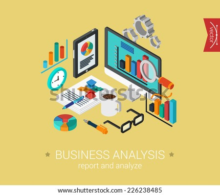 Business analysis report and analyze flat 3d isometric pixel art modern design concept vector icons composition collage. Web banners illustration website click infographics. - stock vector