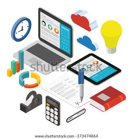 Business Analysis Report Analyze Flat 3D Stock Vector 373474864