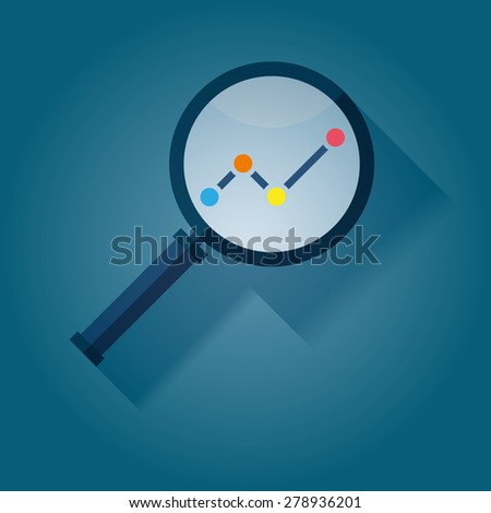 Business Analysis symbol with magnifying glass icon - stock vector