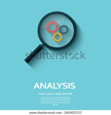 Business Analysis symbol with magnifying glass icon and gears. Long shadow flat design. Eps10 vector illustration. - stock vector