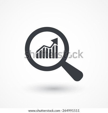 Business Analysis symbol with magnifying glass icon and rising bars chart - stock vector