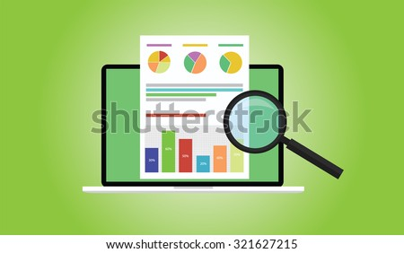 business analyst with laptop notebook graph document flat illustration - stock vector