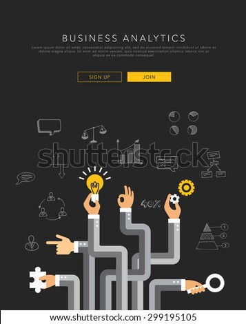 Business analytics flat template, vector on black