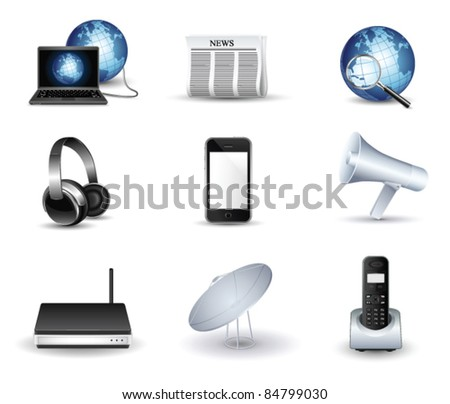 business and communication vector icon set - stock vector