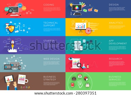 business and development templates vector bight colorful - stock vector