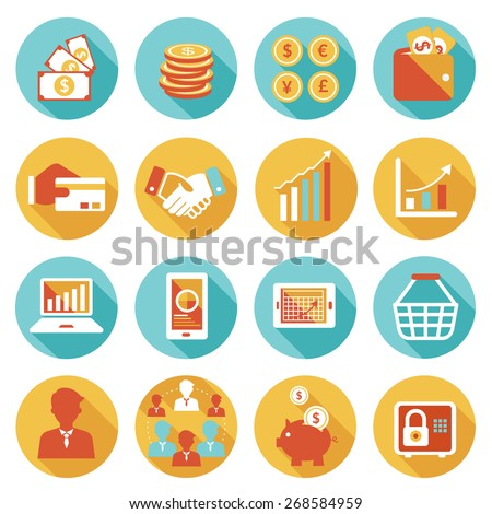 Business and E Commerce Icons Set, Business Marketing Banking Finance and Money - stock vector