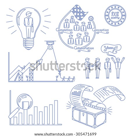 Business and entrepreneurship vector line illustration - stock vector
