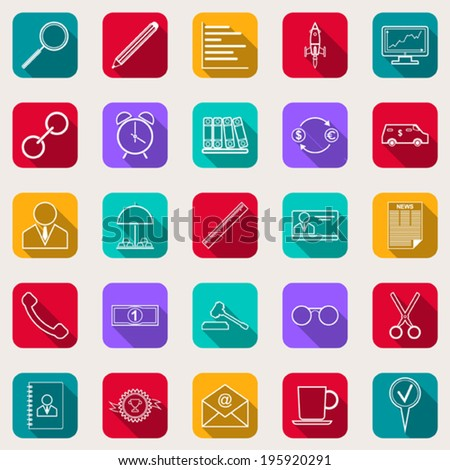 Business and finance flat square vector icons