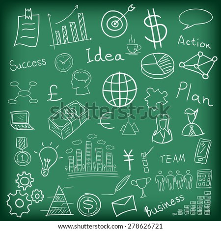 Business and finance hand drawn doodle on blackboard vector illustration