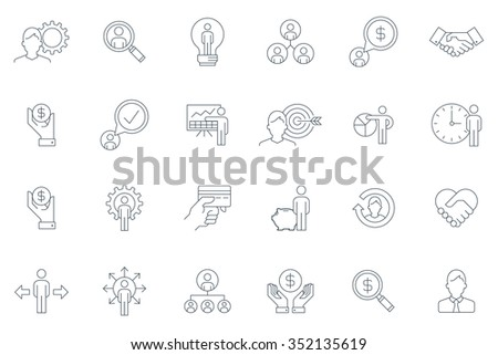Business and finance icon set suitable for info graphics, websites and print media. Black and white flat thin line icons. - stock vector