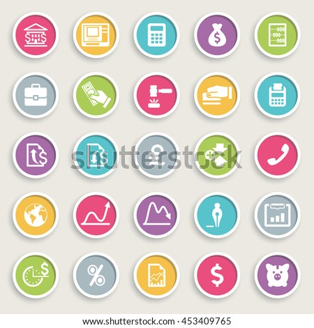 Business and finance icons on color buttons.