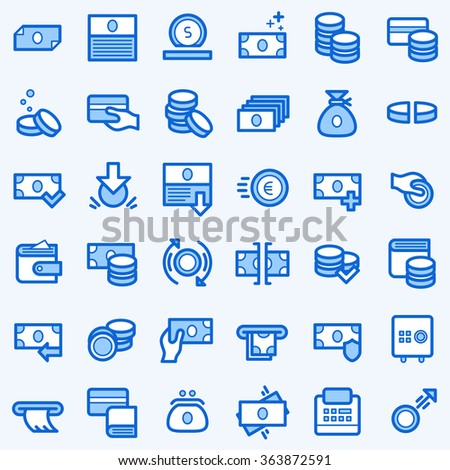 Business and finance icons set. Line style. - stock vector