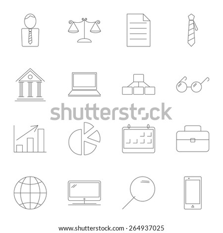business and Finance icons. thin line, vector illustration eps 10 - stock vector