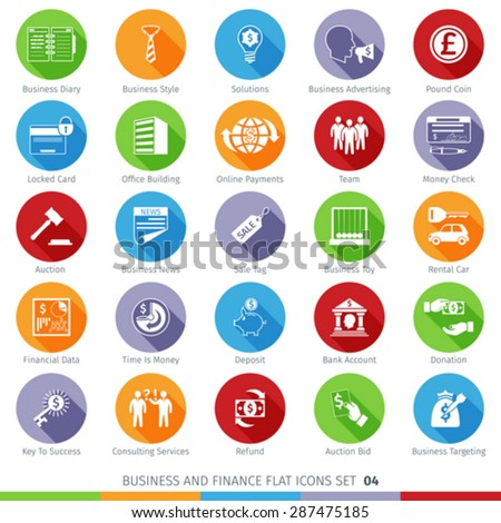 Business and Finance Long Shadow Flat Icons Set 03 - stock vector