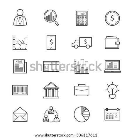 Business and Finance Money Icons Line - stock vector