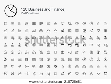 Business and Finance Pixel Perfect Icons (line style) - stock vector