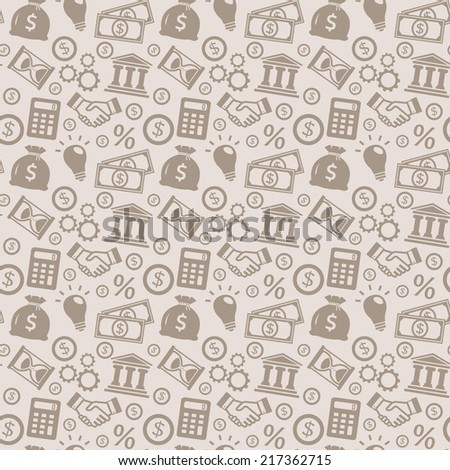 Business and finance seamless pattern. Background with silhouette icons for business theme. Vector illustration.  - stock vector