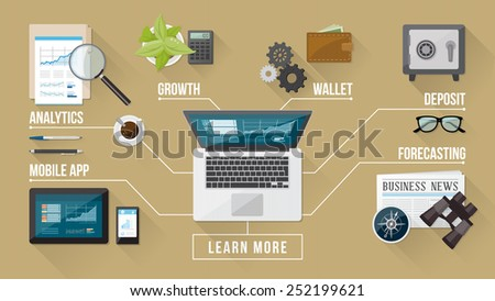 Business and finance services concepts with tools an objects on a desktop top view - stock vector