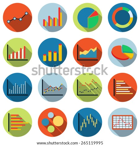 Business and financial statistics colorful vector icons. Flat design illustrations set. - stock vector