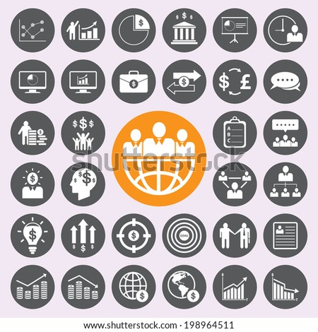 Business and human icons set - stock vector