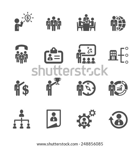 business and human resource management icon set 2, vector eps10. - stock vector