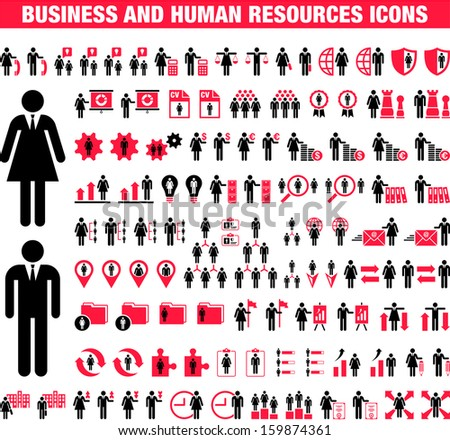 Business and Human Resources icons - stock vector