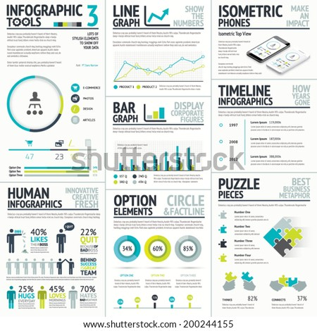 Business and human vector infographic element big set collection - stock vector