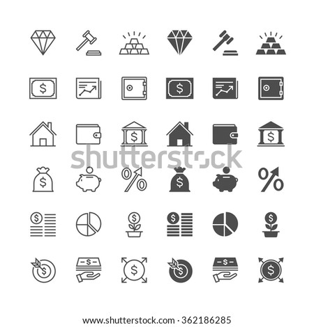 Business and investment icons, included normal and enable state. - stock vector