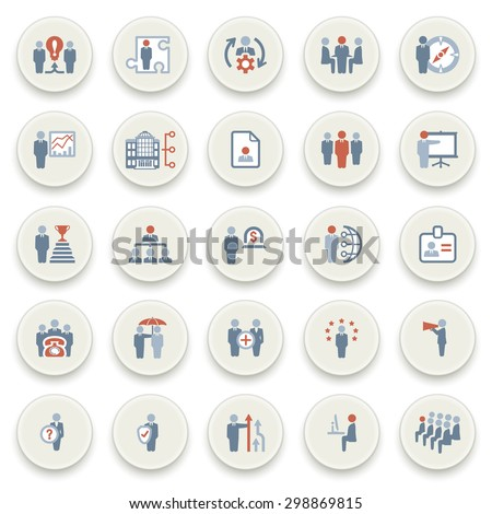 Business and management color icons on white buttons. Flat design.