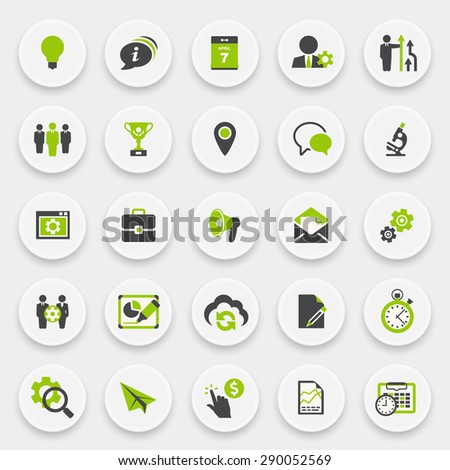 Business and management green gray icons on white buttons. - stock vector