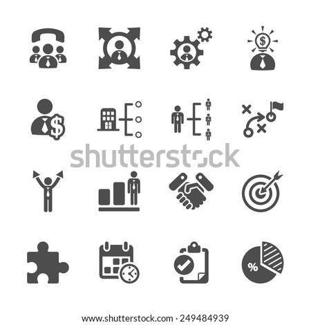 business and management icon set, vector eps10. - stock vector