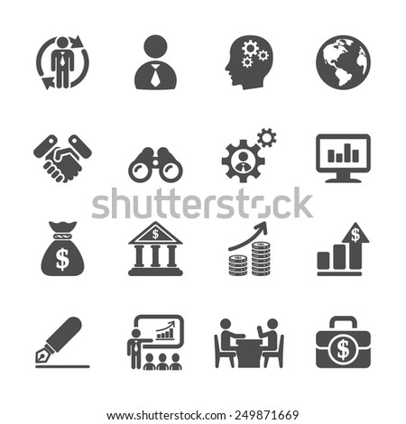 business and management icon set 2, vector eps10. - stock vector