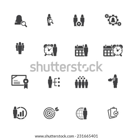 Business and management icon set - woman , female characters icon set  - stock vector